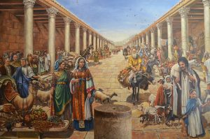 Artist's_reconstruction_of_life_in_a_Roman_cardo_of_Jerusalem_during_the_Aelia_Capitolina_period_(15607472376)
