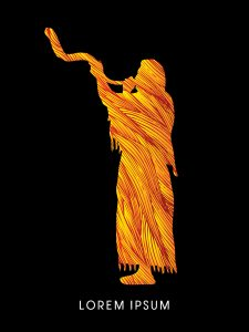 A Man Blowing the shofar , designed using fire brush graphic vector.